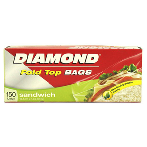 Diamond Sandwich Bag Fold Top 150pc