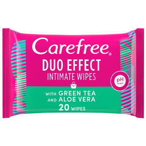 Carefree Daily Intimate Wipes Duo Effect With Green Tea & Aloe Vera 20s