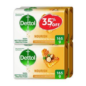 Dettol Nourish Anti-Bacterial Bar Soap Honey & Shea Butter 4x165g