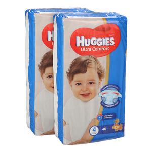 Huggies Ultra Comfort Baby Diapers Size 4+ 9-20 kg 2x40pcs