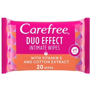 Carefree Daily Intimate Wipes Duo Effect With Vitamin E & Cotton Extract 20s