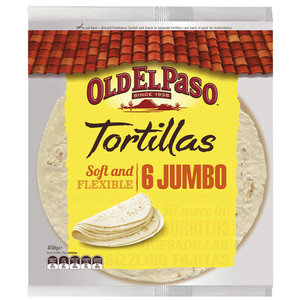 Old El Paso 6 Jumbo Tortila Soft & Flex 450g