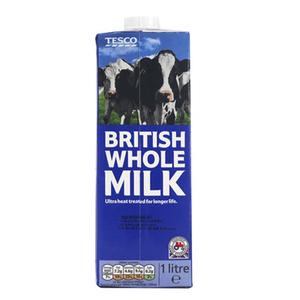 Tesco Whole Longlife Milk 1L