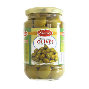 Family Whole Green Olives Plain 200g