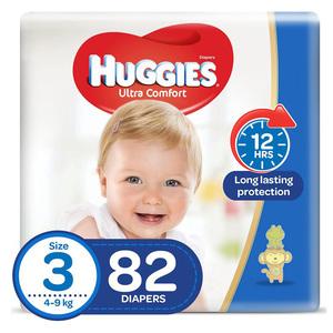 Huggies Ultra Comfort Baby Diapers Size 3 4-9 kg 82pcs