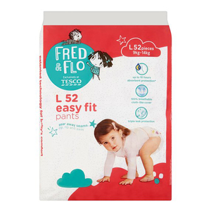 Tesco Fred & Flo Disposable Diaper Baby Pant L 52s
