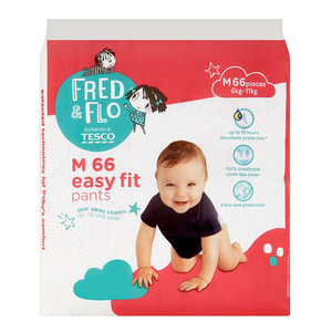 Tesco Fred & Flo Disposable Diaper Baby Pant M 66s
