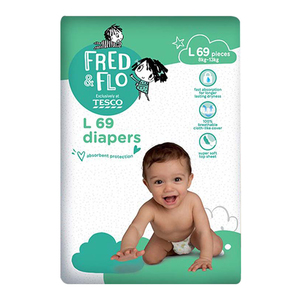 Tesco Fred & Flo Disposable Diaper Baby Tape Diaper L 69s