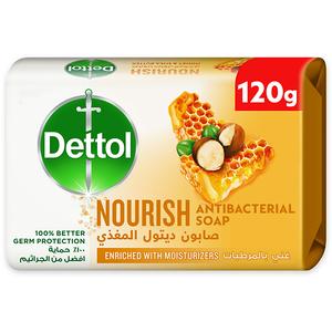 Dettol Nourish Anti-Bacterial Bathing Soap Bar Honey & Shea Butter Fragrance 120g
