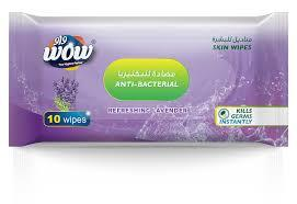 WOW Skin Wipes Anti-Bacterial Lavender 10s