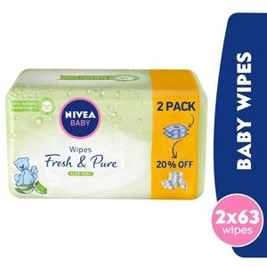 Nivea Baby Wipes Fresh & Pure 2x63s
