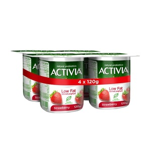 Activia Strawberry Low Fat Yoghurt  4x120g
