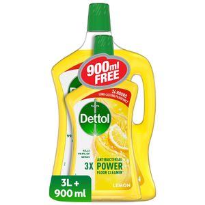 Dettol Lemon Antibacterial Power Floor Cleaner Twin Pack 3L+900ml