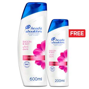 Head & Shoulders Smooth And Silky Anti-Dandruff Shampoo 600ml+200ml