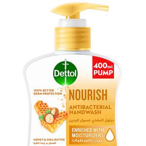 Dettol Nourish Handwash Liquid Soap Pump Honey & Shea Butter Fragrance 400ml