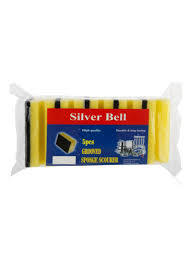 Silver Bell Grooved Sponge With Scourer 5pcs