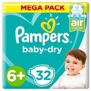 Pampers Baby-Dry Diapers Size 6+ Extra Large+ 14+Kg Mega Pack 32 pcs