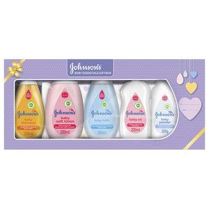 Johnson's Baby Essentials Gift Box: Baby Shampoo, Soft Lotion, Bath, Oil, Powder, Wipes 1box