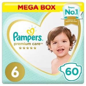 Pampers Premium Care Diapers Size 6 Extra Large 13+ Kg Mega Box 60 pcs
