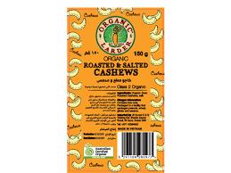 Organic Larder Roasted & Salted Cashews 150g