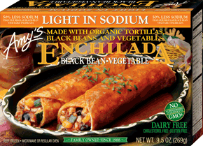 Amys Black Bean Veg Enchilada Light In Sodium 269g