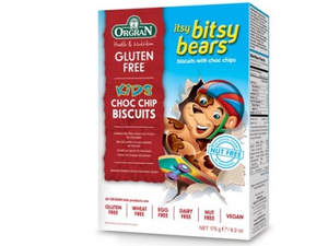 Orgran Itsy Bitsy Bears Choc Chip Cookies Biscuits 175g