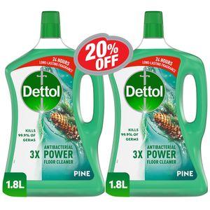 Dettol Pine Antibacterial Power Floor Cleaner 2x1.8L