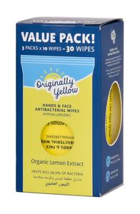 Originally Yellow Wipes Natural Lemon 3x10s