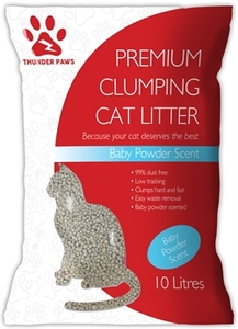 Thunder Paws Clumping Cat Litter Baby Powder Scent 10L