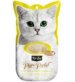 Kit Cat Purr Puree Chicken & Fiber Hairball 4x15g