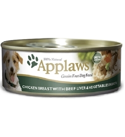 Applaws Adult Dog Chicken Breast, Beef Liver & Vegetables Tin 156g