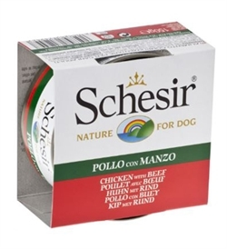 Schesir Chicken Fillets With Beef Dog Can Jelly 150g