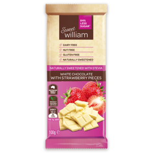 Sweet William White Chocolate with Strawberry Pieces 100g