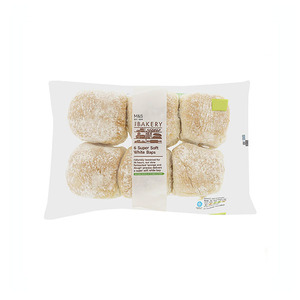 6 Super Soft White Baps 365g