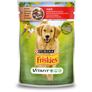 Purina Friskies Adult Dog Food With Beef & Potatoes Pouch 100g