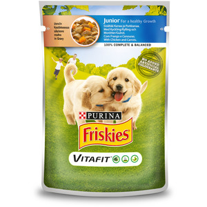Purina Friskies Junior Dog Food With Chicken & Carrot Pouch 100g