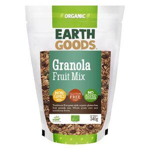 Earth Goods Organic Granola & Fruit Mix No Added Sugar Gluten Free Gmo Free 340g