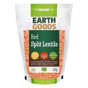 Earth Goods Organic High Protein Split Red Lentils Gmo Free Gluten Free 340g