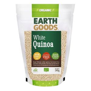 Earth Goods Organic White Quinoa Grains Gmo Free Gluten Free 340g