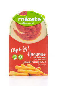 Mezete Hummus With Roasted Pepper & Bread Sticks 1s