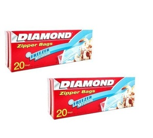 Diamond Freezer Zipper Freezer Bags 2x20s