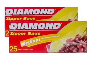 Diamond Medium Storage Zipper Bags 2x25s