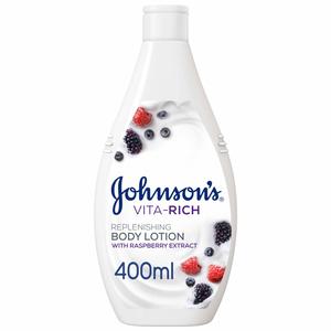 Johnson's Body Lotion Vita-Rich Replenishing Raspberry Extract 2x400ml