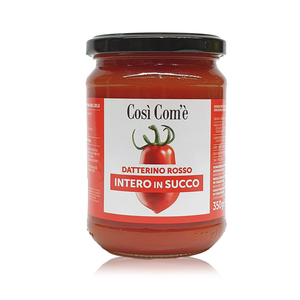 Whole Red Datterino Tomatoes Unpeeled In Tomato Juice 350g