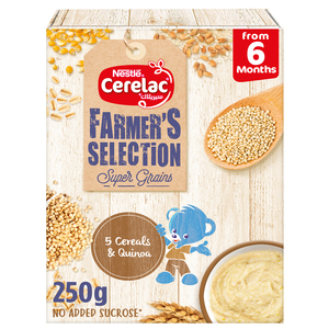 Nestle Cerelac Farmer's Selection Bib 5 Cereals Quinoa Strawberry Passion Fruits From 8 Months 250g
