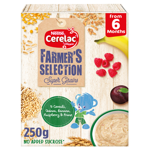 Nestle Cerelac Farmer's Selection Bib 5 Cereals Quinoa Beetroot & Carrot From 6 Months 250g