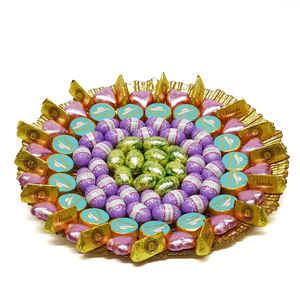 Assorted Chocolates Gold Glass Round Tray 1kg