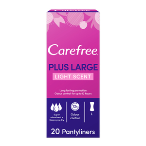 Carefree Panty Liners Plus Large Light Scent 2x20s