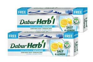 Dabur Herbal Whitening Toothpaste+ Brush Free 2x150g+brush