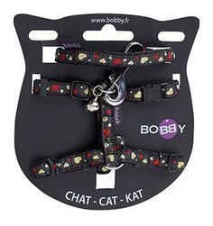 Bobby Black Extra Small Harness & Leash With Bell For Cats 1pc